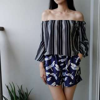 Stripey off-shoulder top with flare sleeves