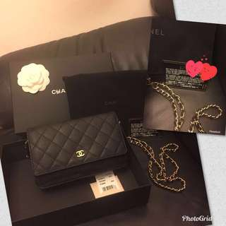 100% authentic Chanel caviar 荔枝皮金鍊wallet on Chain