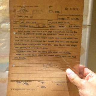 Vintage Old Document - Old Singapore 1966 Police Report Filing