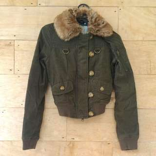 Guess Jeans' Suede Faux Fur Army Jacket