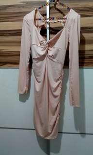 Beige Mini dress, long sleeve