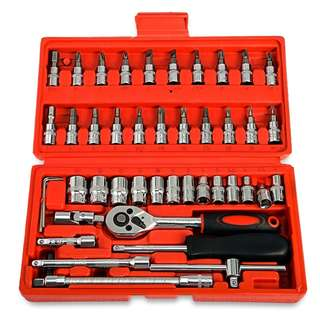 💯 46pcs 1/4-Inch Socket Ratchet Wrench Combo Tools Kit for Auto Repairing