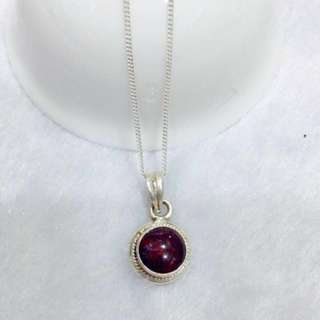 (sold out)Garnet Pendant simple design Handmade in Nepal 92.5% Silver