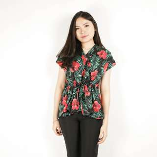 Red flower blouse