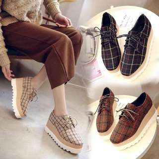 2018 spring shoes square plaid cloth at the end of England slab thick base with a single shoe