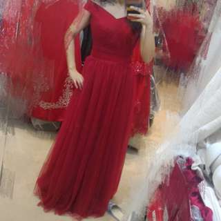 綁帶 一字肩 紅色晚裝 敬酒裙 pre wedding wedding dress