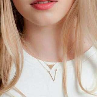Boho Necklace Triangle V shape Pendant