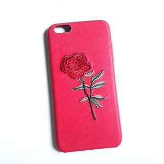 iPhone 6 Plus Red Embroidered Rose case