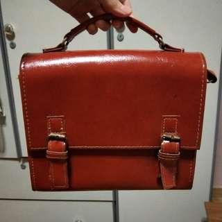 Leather Boxy Shoulder bag