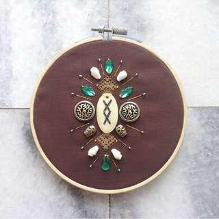 Ornamentals #8: Inguz // Mixed Media Embroidery Art