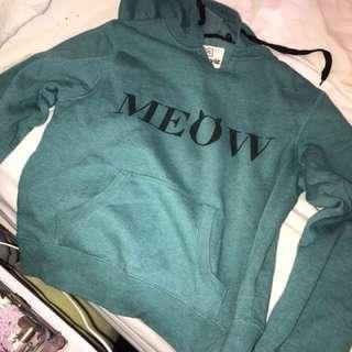 Teal Green Blue MEOW Hoodie