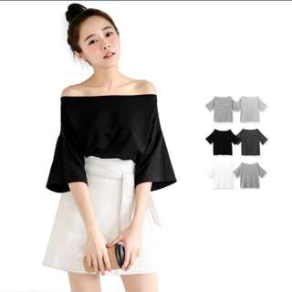 Uzzlang Premium Black Off Shoulder Top!