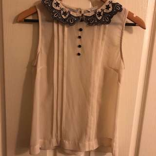 Sheer Off white Embroidery Collared Top