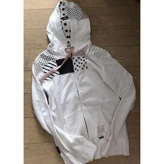 Zoo York - white patchwork zip up hoodie jacket