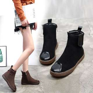 British style flat bottom boots female retro thick round winter plus cashmere Martin boots female bare boots
