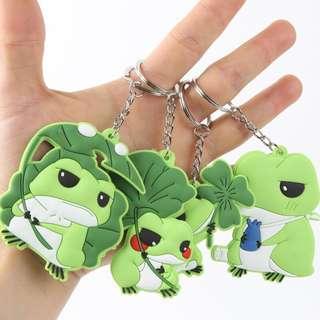 旅行青蛙  蛙的旅行可愛卡通雙面圖案軟膠鑰匙扣掛件 遊戲周邊