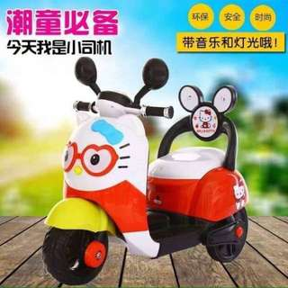 Hello Kitty Scooter Rechargeable Motorcycle Toy Tricycle Red