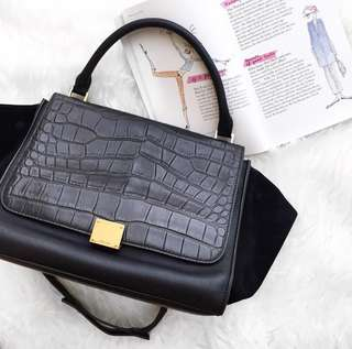 Celine Trapeze Croc Black Bag