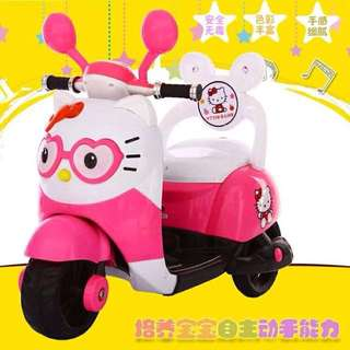 Hello Kitty Scooter Rechargeable Motorcycle Toy Tricycle Pink