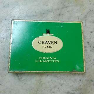 Green Craven Plain Virginia Cigarettes Square Tin Vintage