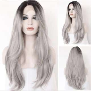 "24"" grey lace front wig"