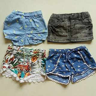 ALL 4 Pairs of Shorts + Mini Skirt (FOX / SEED Heritage)