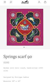 Hermes classic pink scarf 90cm brand new