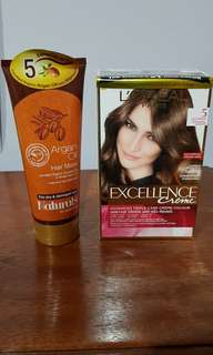 (BRAND NEW) L'Oreal excellence hair color in Light Brown w/ FREE Argan Hair Mask