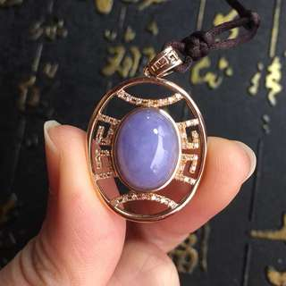 18k rose gold diamonds lavender Jadeite Pendent