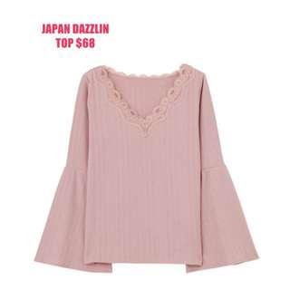 全新日本牌子DAZZLIN淡粉紅喇叭袖TOP 原價199