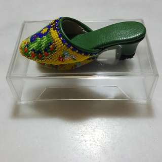 Miniature beaded shoes