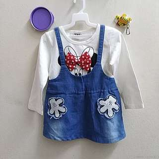Baby girl clothing long sleeve Jean dress