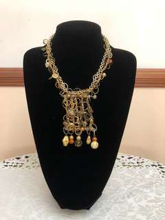 Rustic design Gold Necklace with stones