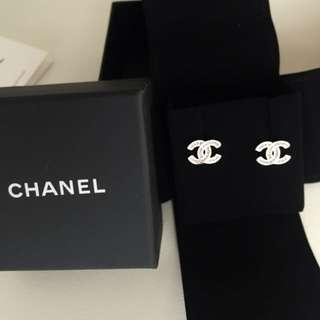 2018 Chanel 香奈兒 粉紅黃色閃亮彩色耳環