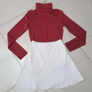 Maroon high neck long sleeve top + white knee length skirt