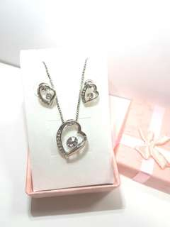 Fashion Sliver Crystal Heart Jewellery Set White
