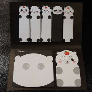Panda Bookmarks and Sticky Notes Set