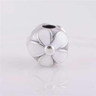 Code Ci48 - White Flower 100% 925 Sterling Silver Clip Stopper Lock, Chain Is Not Included, Compatible With Pandora