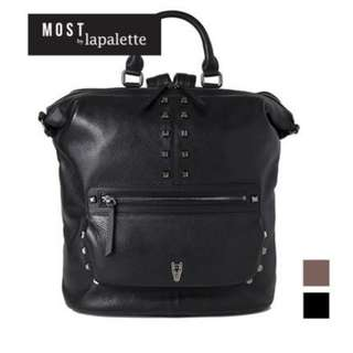 Lapalette Most collection black leather bagpack