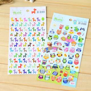 Cute Fashionable Stickers Giraffe & Owl