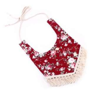 Boho Girl Red Flower Bib