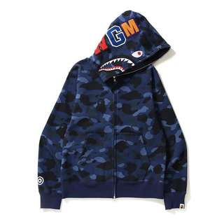 現貨 Bape navy Color camo 藍迷彩 鯊魚 Shark full zip hoodie (Size XL only) a bathing ape 猿人