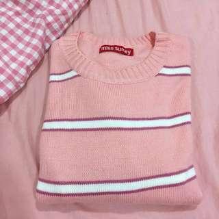 粉色條紋 毛衣 針織衣