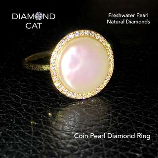 Rosé Freshwater Pearl Diamond Ring