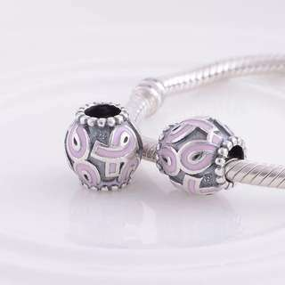 Code MS69 - Pink Ribbons Bead 100% 925 Sterling Silver Charm, Chain Is Not Included, Compatible With Pandora
