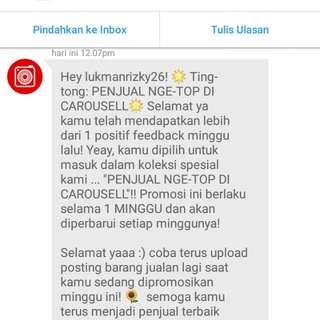 Yuhuu dapet recomendasi dari carousell penjual ngeTOP😊😊😊, terimakasih carousell🙏😌