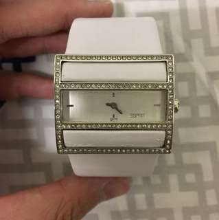 Esprit white leather watch 100% real and new with box