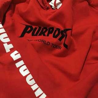 purpose tour red crop hoodie