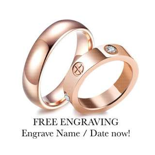 SCPR-020 • ROSE GOLD BI Wedding Love Band Rings• FIXED SIZE • STAINLESS STEEL