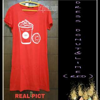 ( NEW PRODUCT ) Dress Fancy Donut & Lime - Red